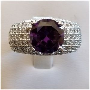 3CT Amethyst And Pave White Sapphires Ring 9